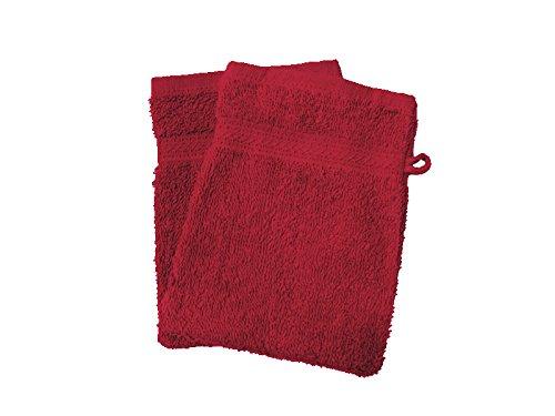 Soleil d'ocre 421101 Douceur Lot de 2 Gants de Toilette Coton Rouge 21 x 16 cm