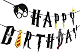 SHI WU sorcière Magique de Maison Harry Potter fête - Joyeux Anniversaire Bannière Guirlande de Feutre Décoration de fête , Noir
