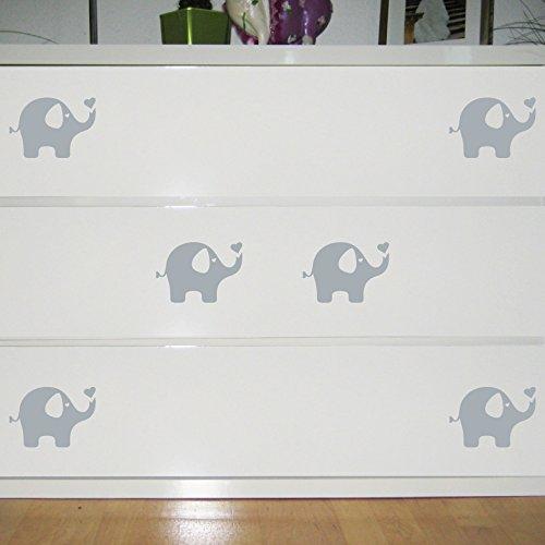 Elefanten Aufkleber die cut Tattoo Wandtattoo Kinder Zimmer Möbel Auto Fenster Deko Folie (6 Stück grau)