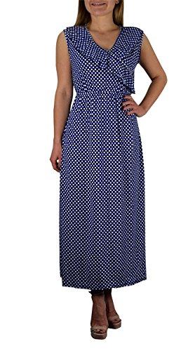 Peach Couture Femme à Pois V-cou Sans Manches Casual Maxi Longue Robe Bleu