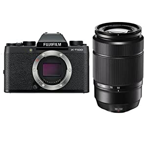 Fujifilm X-T100 Mirrorless Digital Camera Body, Black - with XC 50-230mm (76-350mm) F4.5-6.7 OIS II Lens - Black