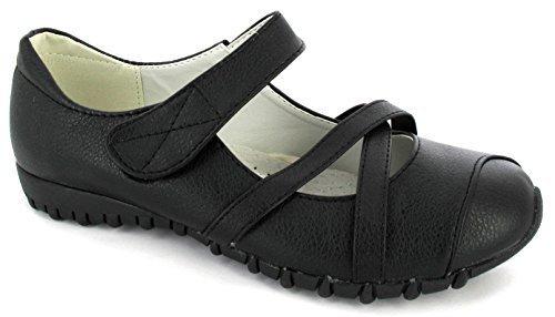 Scarpe Donne Di Signore 3 Dimensioni Vestiti Black Casuali Nero Velcro Comodità Cinghia Delle Lavorano 8 Delle Opaco fI7qA8x