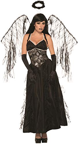 Fallen Dress Angels Kostüm Fancy - Ladies Full Length Long Dark Sexy Fallen Angel With Wings Halloween Fancy Dress Costume Outfit
