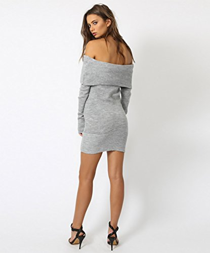 WanYang Femme Pull Robe Manches Longues Epaule Off Tricotage Pull-over Jumper Sweater Longue Pull-over Mince Sexy Gris