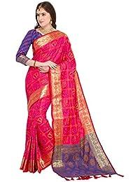 EthnicJunction Art Silk Saree with Blouse Piece (EJ1175-1006_Pink_Free Size)