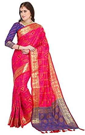 EthnicJunction Art Silk Saree with Blouse Piece (EJ1175-1006_Pink_Free Size)