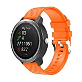 METEQI Correa Compatible con Garmin Vivoactive 3,Correa Reloj Silicona Suave Ajustable 20mm para Garmin Vivoactive 3/Forerunner 645 Música/Samsung Galaxy 42mm (Naranja)
