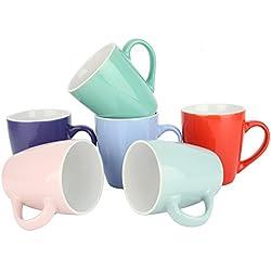 6er Set Kaffeetassen Kaffeebecher Teetassen Keramik Tassen Becher bunt