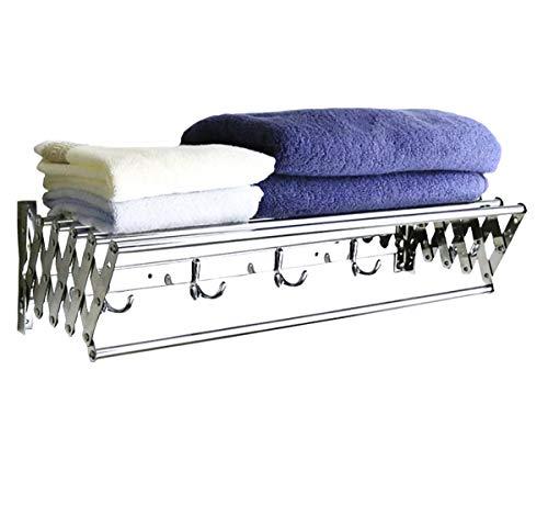 ybaymy 80cm ausziehbar Wand montiert Edelstahl Trockengestelle Handtuch Regal mit Haken Trockner für drinnen und draußen