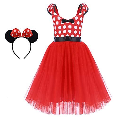 chen Minnie Polka Dots Prinzessin Kostüm Kinder Ballett Tutu Kleid Geburtstags Karneval Party Hochzeit Festzug Fasching Ballkleid Cosplay Hollween 001 Rot(Lange) 6-7 Jahre ()