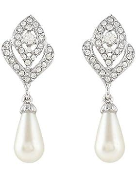 EVER FAITH® österreichischen Kristall künstliche Perle Träne Form elegant Anhänger Ohrring Ohrstecker klar Silber-Ton...