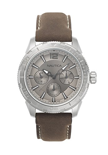 Nautica Men's 'SEATTLE' Quartz Stainless Steel and Leather Casual Watch, Color Brown (Model: NAPSTL002)