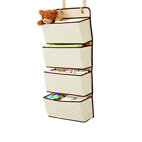 JSLHOME 4 bolsillos para colgar en la pared sobre la puerta, armario, bolsa de almacenamiento, organizador de guardería, color beige