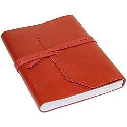 Creoly Diario de cuero rojo clásico hecho a mano (agenda, libro de notas) (15cm x 20cm)
