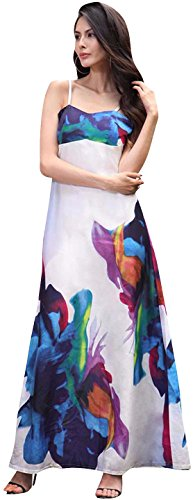 Jeansian Femme Partie de Plage d'ete sans manches Robe Women's Summer Beach Party Sleeveless Printed Loudspeaker Slim Dress WHS420 white