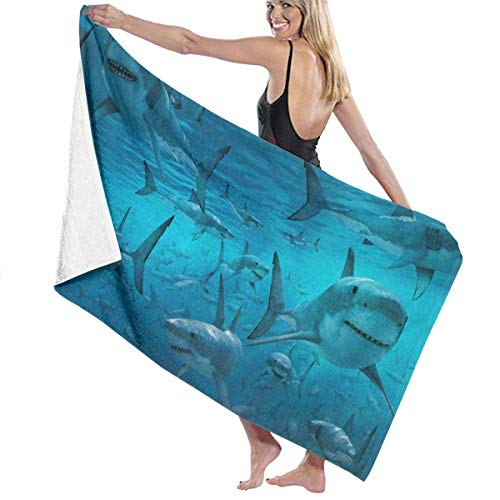 fgregtrg Beach Towels Decor Polyester Fiber Underwater Shark Group Sea Blue Bath Towels Oversized Soft, High Absorbent, Eco-Friendly Printed Bath Towel,Quick Dry 31.5\