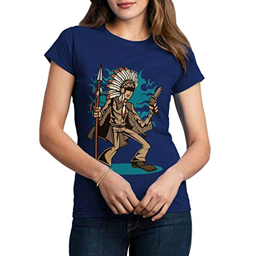 C380WCNTN Damen T-Shirt Indian Chief Killer American Indian Chief Spirit Warrior Axe Wild Free Bike Motorcycle Heritage Vintage Tattoo(Large,Navy) American Heritage 8