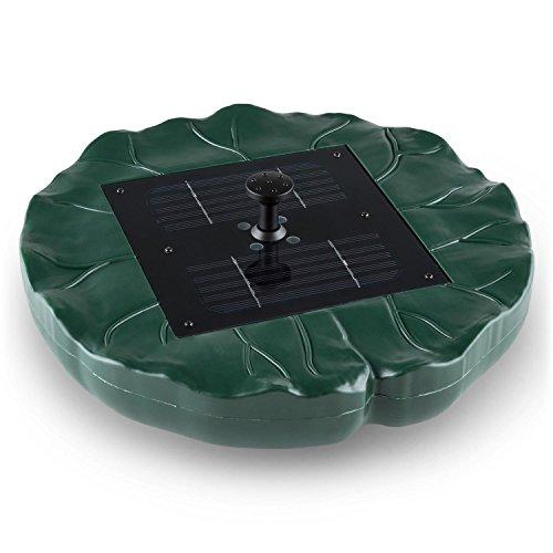 Gartenbrunnen Springbrunnen (4 Fontänen, solarbetrieben, Fernbedienung, LED-Beleuchtung, schwimmend, Seerosen Blatt Design) grün (Guten Tag Dc Halloween)