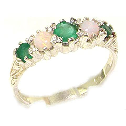 Antique Style Solid Sterling Silver Natural Emerald & Opal Ring with English Hallmarks - Size P - Finger Sizes L to Z Available - Suitable as an Anniversary, Engagement or Eternity