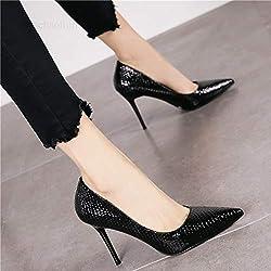 Yukun zapatos de tacón alto Zapatos De Tacón Alto De Niña De Lunares Finos con Otoño Zapatos De Mujer De Punta Sencilla Imprevista De Otoño, 35, Blanco