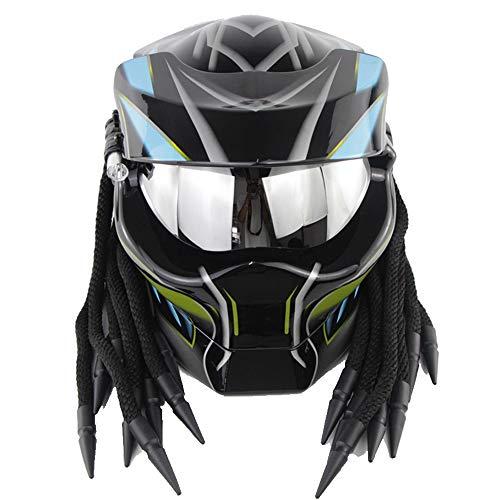 ZJRA Offener Vollgesichts-Motocross-Helm, Predator-Helm, Motorrad-Helm, DOT-geprüft, geflochtenes Haar, LED-hell,XL61~62cm