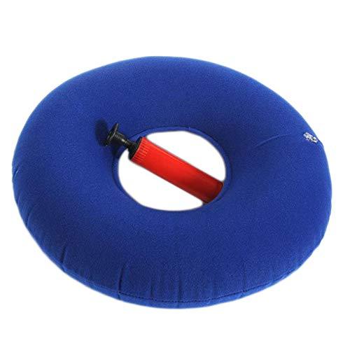 SXTYRL cojín antiescaras de Aire Redondo cojín hemorroides con Tubo Inflable, Hernias Cojines cojín de coxis ortopédico Ergonómico para sillón de Oficina reclinable (37 * 13cm),Darkblue