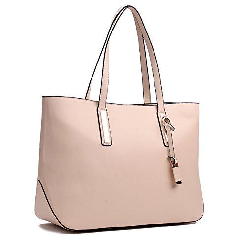 Miss Lulu Designer-Damen-Handtasche, Leder, Handtasche, Umhängetasche beige