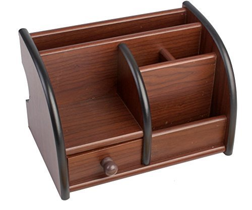 GLIVE (LABEL) Wooden Desk Organizer Polished Pen Stand with Drawer Mobile Holder, Remote Stand for Home Office