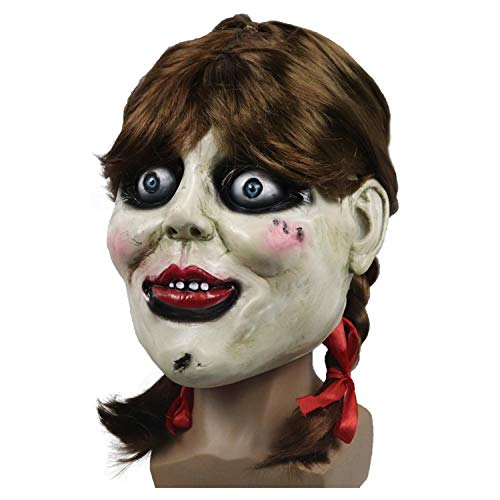 Annabelle Kostüm Maske - QWEASZER Halloween Terror Scary Annabelle Maske und Perücke Chucky Masken Erwachsene Latex Supervillain Kopfbedeckungen Annabelle Film Cosplay Kostüm Requisiten,Annabelle mask and Wig-OneSize
