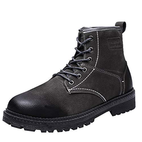 HDUFGJ Herren kurz Boots Stiefeletten Baumwollschuhe Plus Samt warme Lederschuhe Stiefeletten Worker Boots Springerstiefel Plus Samt warme wasserfeste Reißverschluss Leopard Outdoor39.5 EU(Grau)