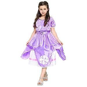 Katara - Costume Vestito da Principessa Sofia di Sofia La Principessa Disney per Bambine - Abito Viola per Feste a Tema, Carnevali, Compleanni - Disponibile in Varie Taglie per Diverse Età - 6-7 Anni