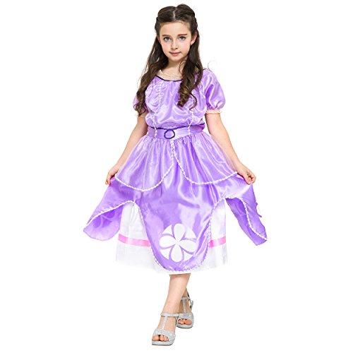 Imagen de katara 1745  disfraz de princesa sofía, vestido de hadas con mangas cortas para niñas de 7 y 8 años, color violeta
