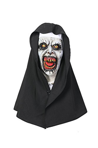 Wellgift Halloween Nun Maske & Kopfstück Frauen Scary Voller Kopf Nonne Helm Cosplay Kostüm Karneval Fancy Dress - Nonnen Kostüm Fancy Dress