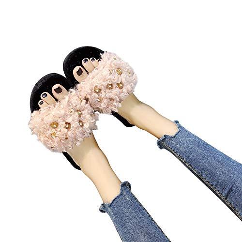 TianWlio Hausschuhe Weihnachten Mode Winter Mode Frauen Komfortable Warme Flache Unterseite Zuhause Offener Zeh Kreuz Fell Häschen Schuhe