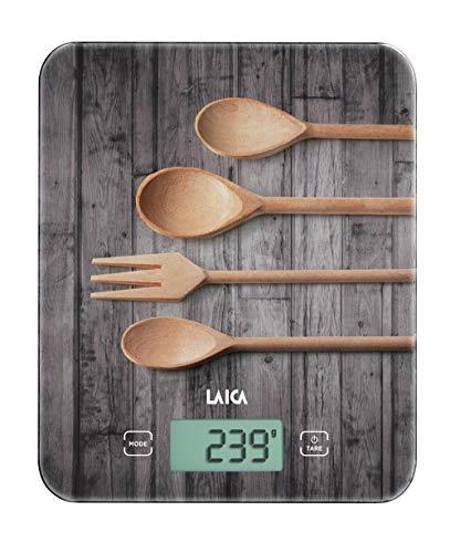 Laica KS5010 Bilancia da Cucina Elettronica, Vetro Temperato Serigrafia Legno , Tasti Touch Sensor,  10 kg, elettrica, grigio/marrone