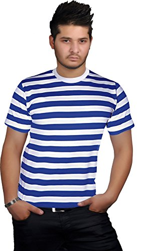 GirlzWalk Herren Gestreift Rot Schwarz Blau und Weiß Top Rundhalsausschnitt Kurzarm Buch Woche T-Shirt (Blauer und Weißer Streifen, ML/EU 40-42/UK 12-14) (T-shirt Kurzarm Lager)