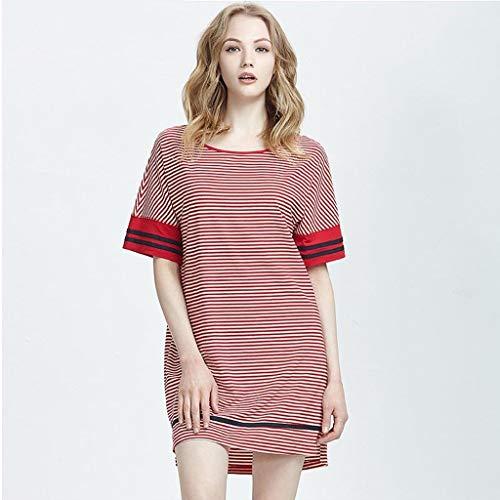 Nachtwäsche Pyjamas Frauen Sommerkleid Modal Cotton Stripe Rock Casual Home Wear Dünne Größe Kleid (Size : XXL) -