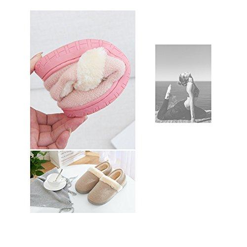 Enveloppé de coton hiver hommes et femmes couple chaud pantoufles Maison épaisse antiquités pantoufles maison Mois chaussures (5 couleurs en option) (modèles masculins et féminins en option) (taille e C