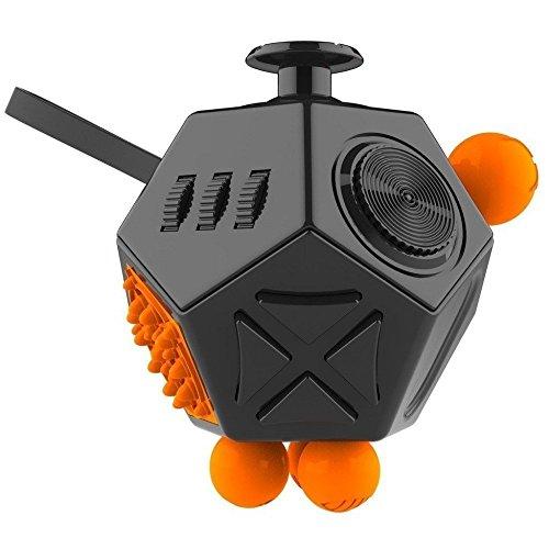 Fidget Cube, 12 Lados Cubo Magico Multifunción Descompresión Juguetes Rotary Cage Strain Relieves Hand Toys Decompression OCD Increases ADHD for Kids and Adults AAczhi (Negro / naranja)