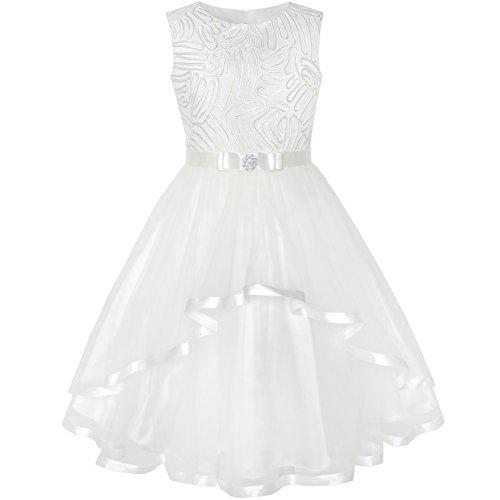 (Mädchen Kleid Blume Aus Weiß Belted Hochzeit Brautjungfer Gr. 110)