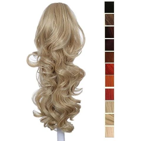 Prettyland - DH254 60cm Extensión de cabello, Peluca Cola de Caballo ondulada con clips- hell Aschblond (BL20)