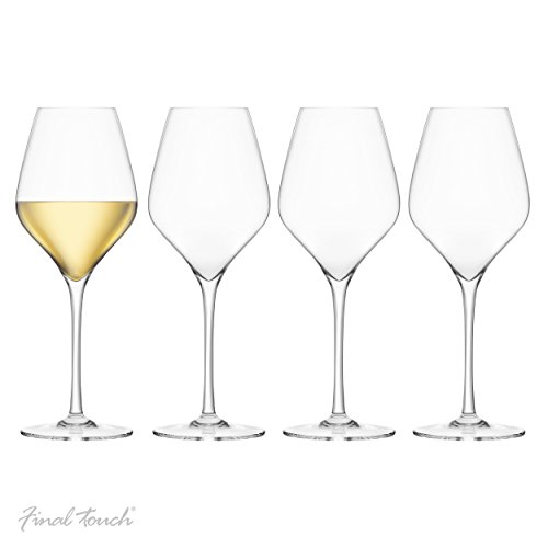 Final Touch PACK OF 4 100% Lead-free Crystal White Wine Glasses Verre à vin blanc Sans plomb Fabriqué avec du DuraSHIELD Titanium renforcé pour une durabilité accrue - Hauteur 24cm 440 ml - Set de 4