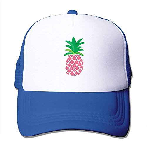 Hoswee Unisex Kappe/Baseballkappe, Adult Pink Pineapple Mesh Football Visor Cap Black