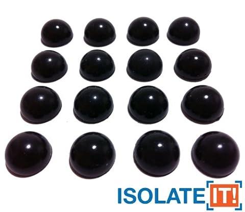 Isolate It! Lot de 16 demi-sphères amortissantes en Sorbothane antichocs Adhésifs inclus Duromètre50 1,27cm