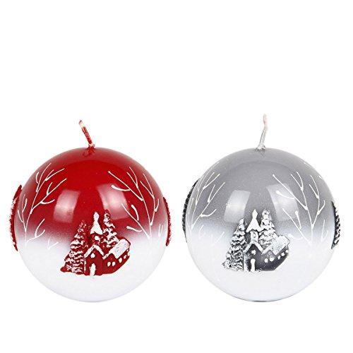 Bola velas-Juego de 2velas velas de Adviento Navidad velas Sagrada Noche Rojo Gris