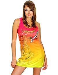 ED HARDY Damen Designer Kleid Pink Maya Tank Dress