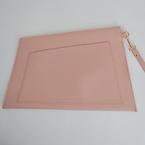 AiSi Damen Mädchen modern Clutch kleine Handtasche Messenger Bag Abendtasche Party Bag mit Handschlaufe schwarz pink