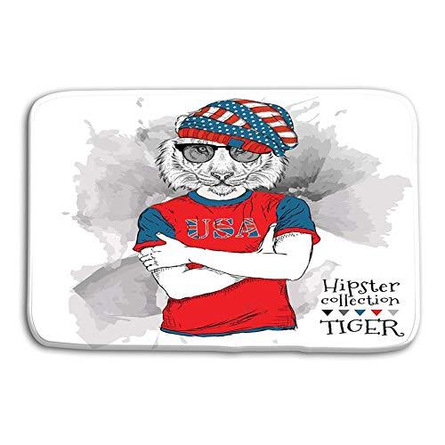 ntrance Door Mats Rug Illustration Tiger Hipster Dressed up Glasses Print USA Flag Non Slip Bathroom Mats 23.6