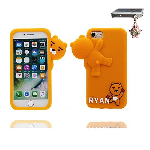 """iPhone 6 Coque, 3D Cartoon Licorne cheval Unicorn Cover iPhone 6s étui (4.7 pouces) TPU souple Shell iPhone 6 Case (4.7"""") poussière glissement résistant aux rayures et Bouchon anti-poussière marron"""