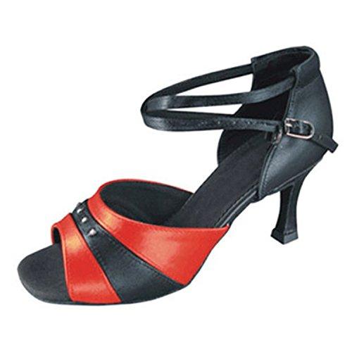 YFF Dono donne scarpe da ballo sala da ballo latino ballare il tango scarpe da ballo 7CM red Black